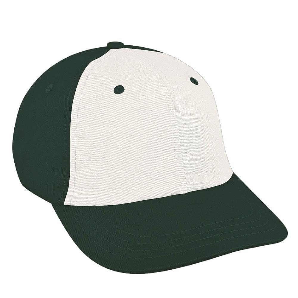White-Hunter Green Canvas Self Strap Dad Cap