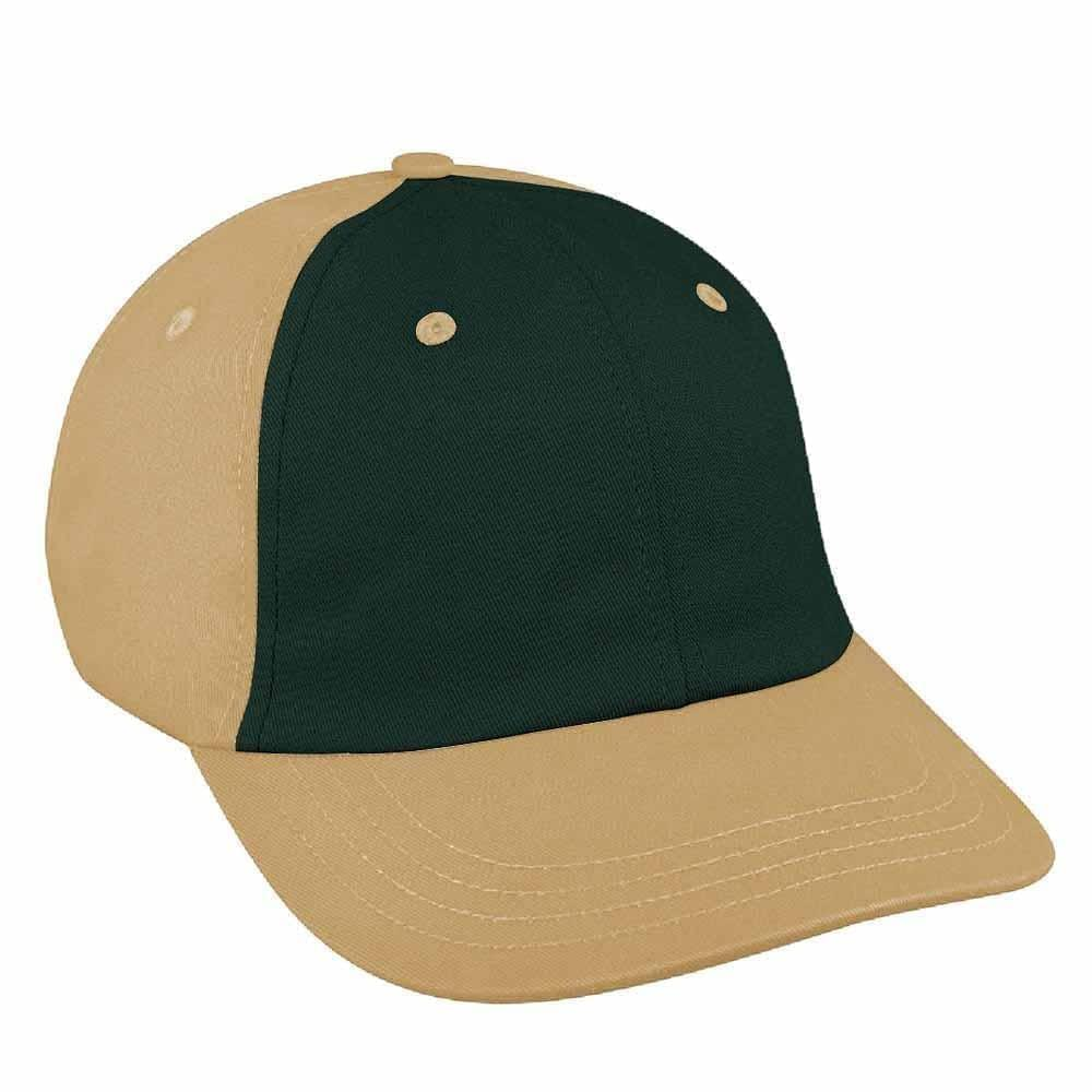 Hunter Green-Khaki Canvas Self Strap Dad Cap
