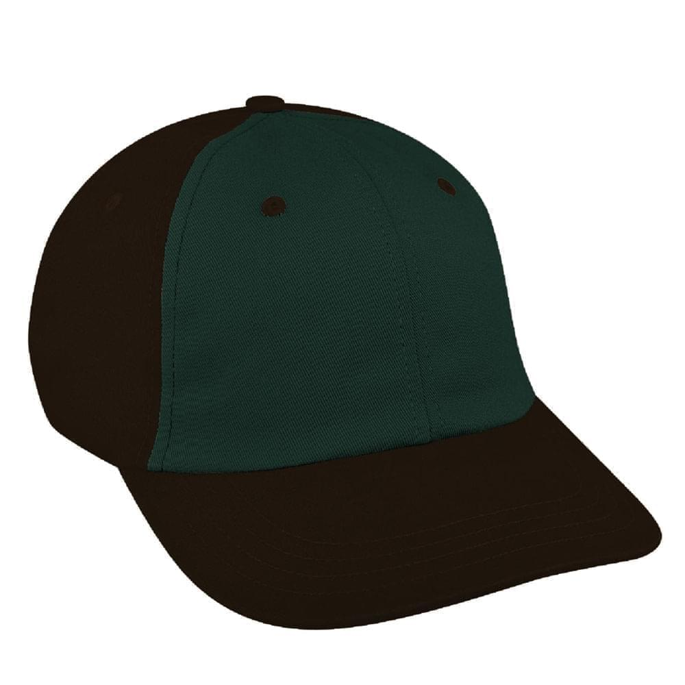 Hunter Green-Black Canvas Leather Dad Cap