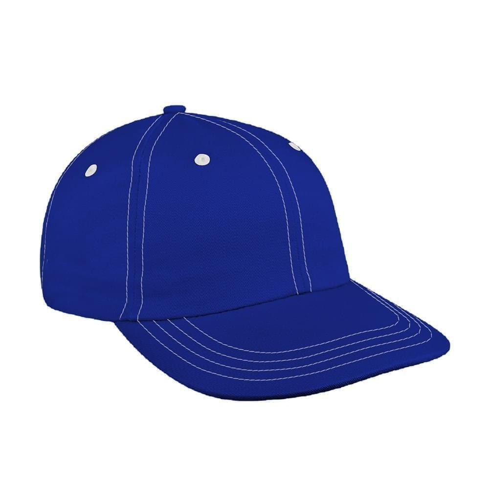 Royal Blue-White Canvas Leather Dad Cap