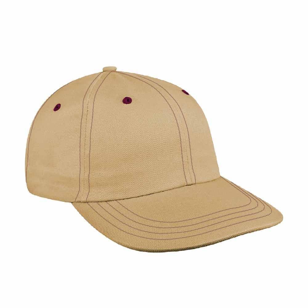 Khaki-Burgundy Denim Velcro Dad Cap