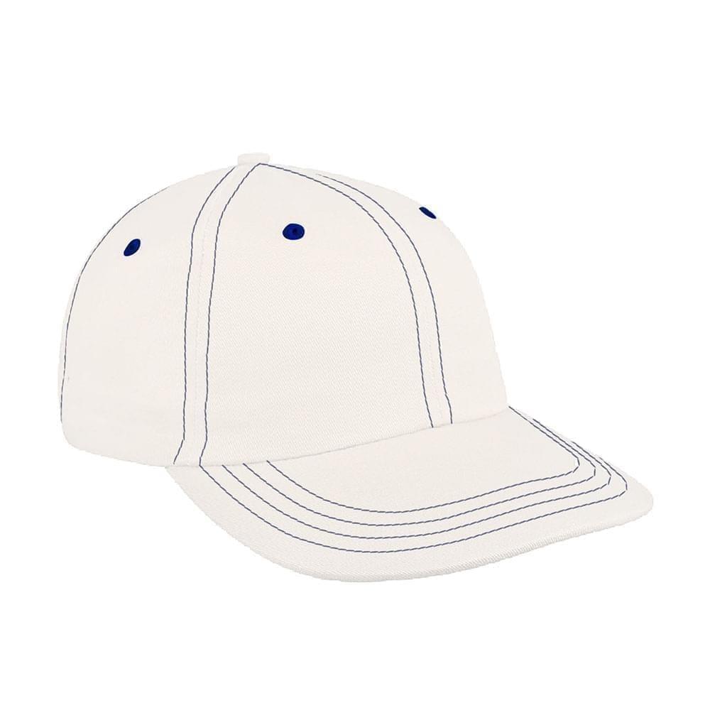White-Royal Blue Denim Velcro Dad Cap