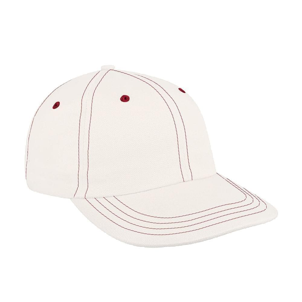White-Red Canvas Self Strap Dad Cap