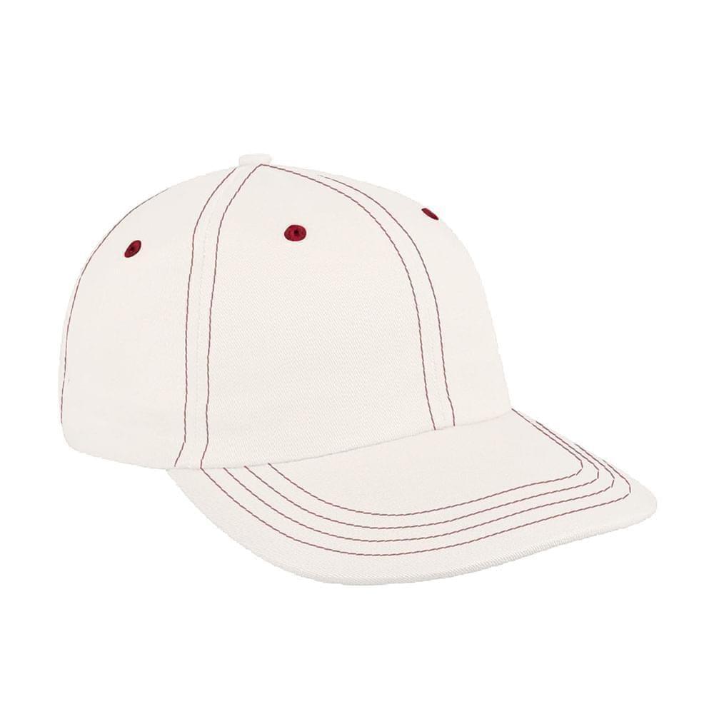 White-Red Denim Velcro Dad Cap