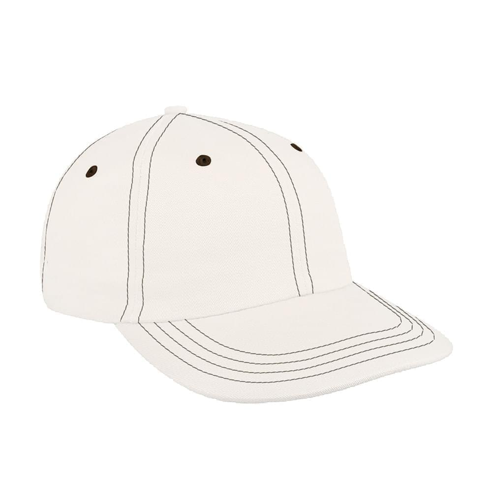 White-Black Canvas Leather Dad Cap