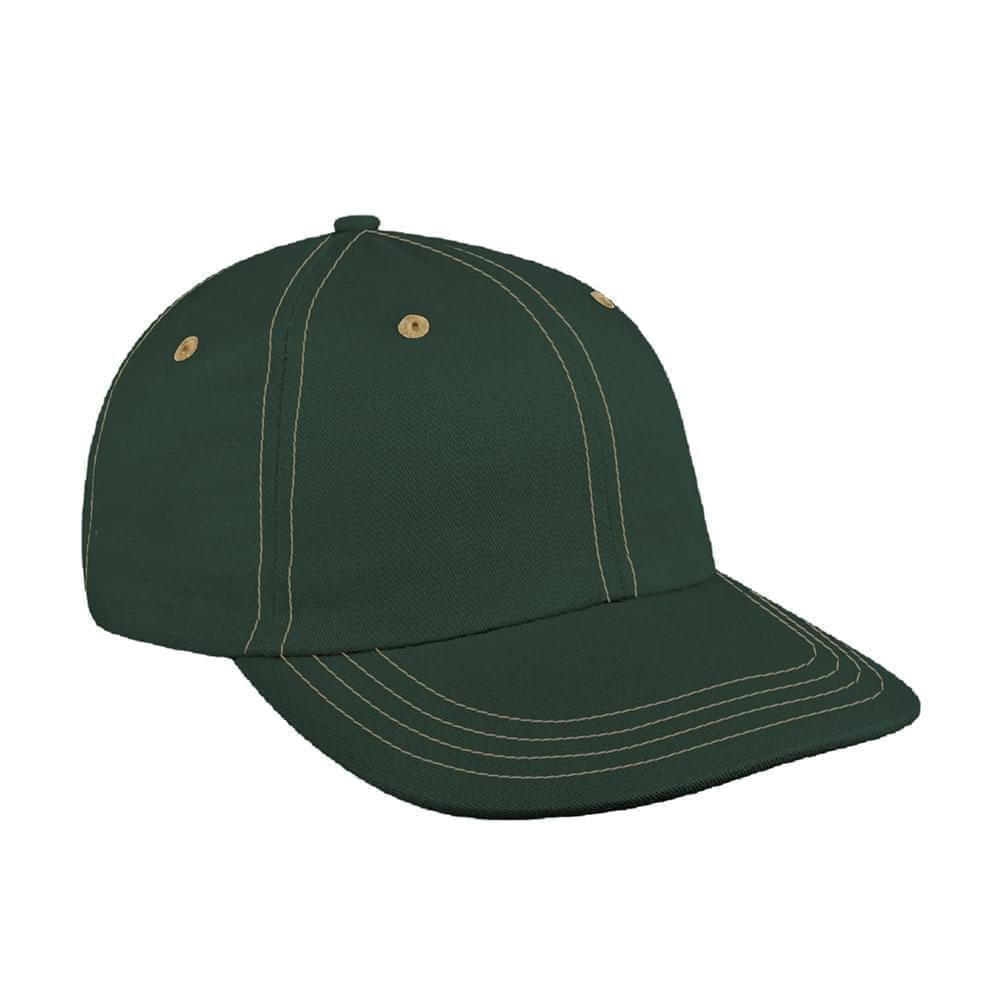 Hunter Green-Khaki Canvas Snapback Dad Cap