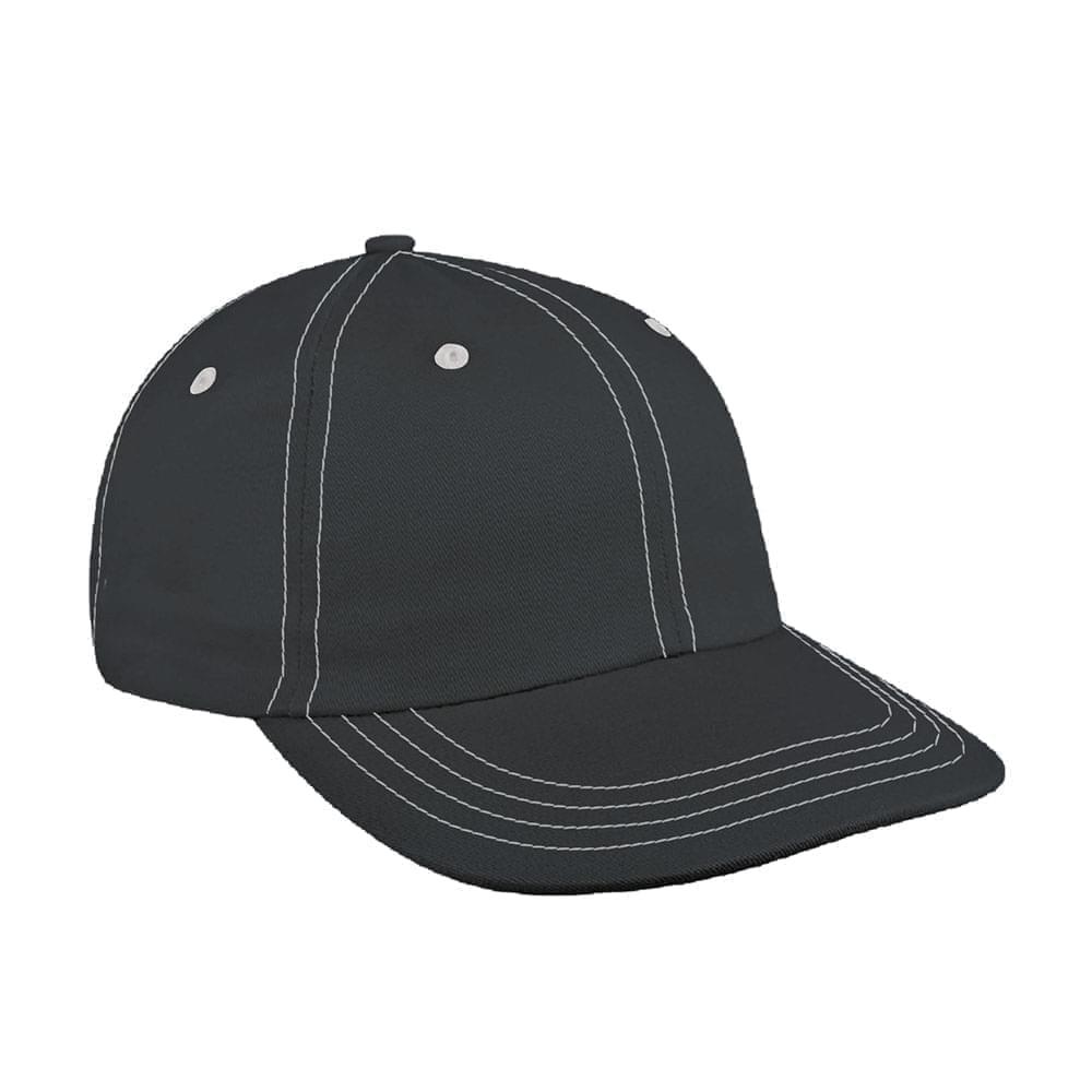 Dark Gray-White Denim Velcro Dad Cap