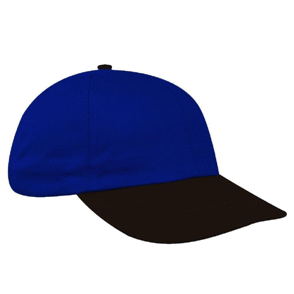 Royal Blue-Black Canvas Leather Dad Cap
