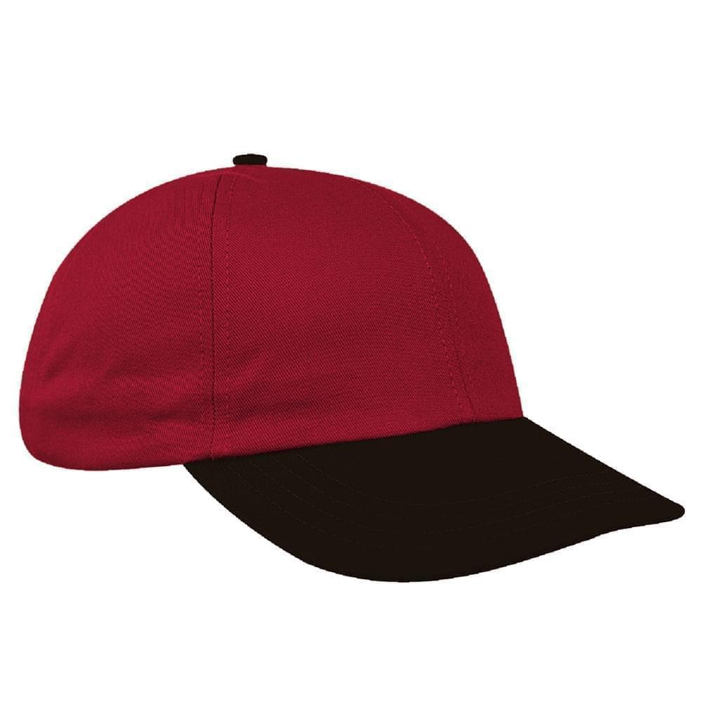 Red-Black Canvas Self Strap Dad Cap