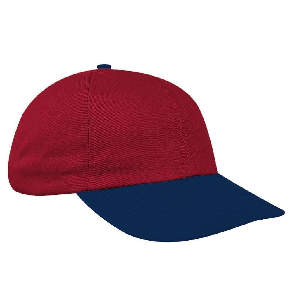 Red-Navy Canvas Leather Dad Cap