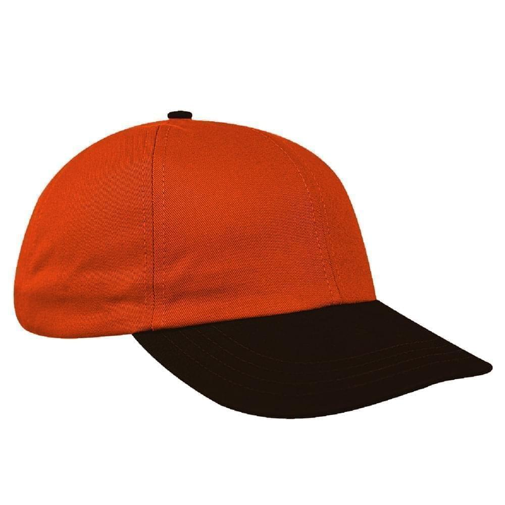 Orange-Black Canvas Leather Dad Cap