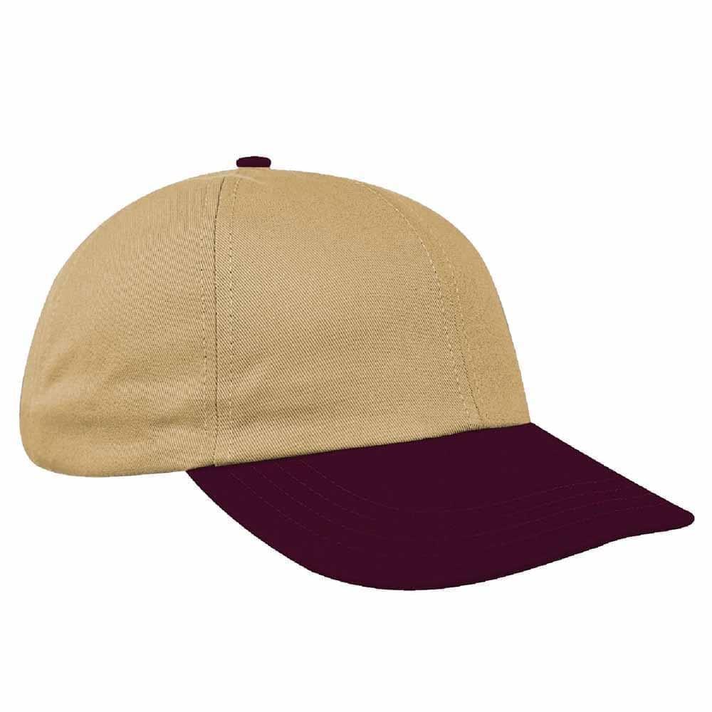 Khaki-Burgundy Canvas Leather Dad Cap