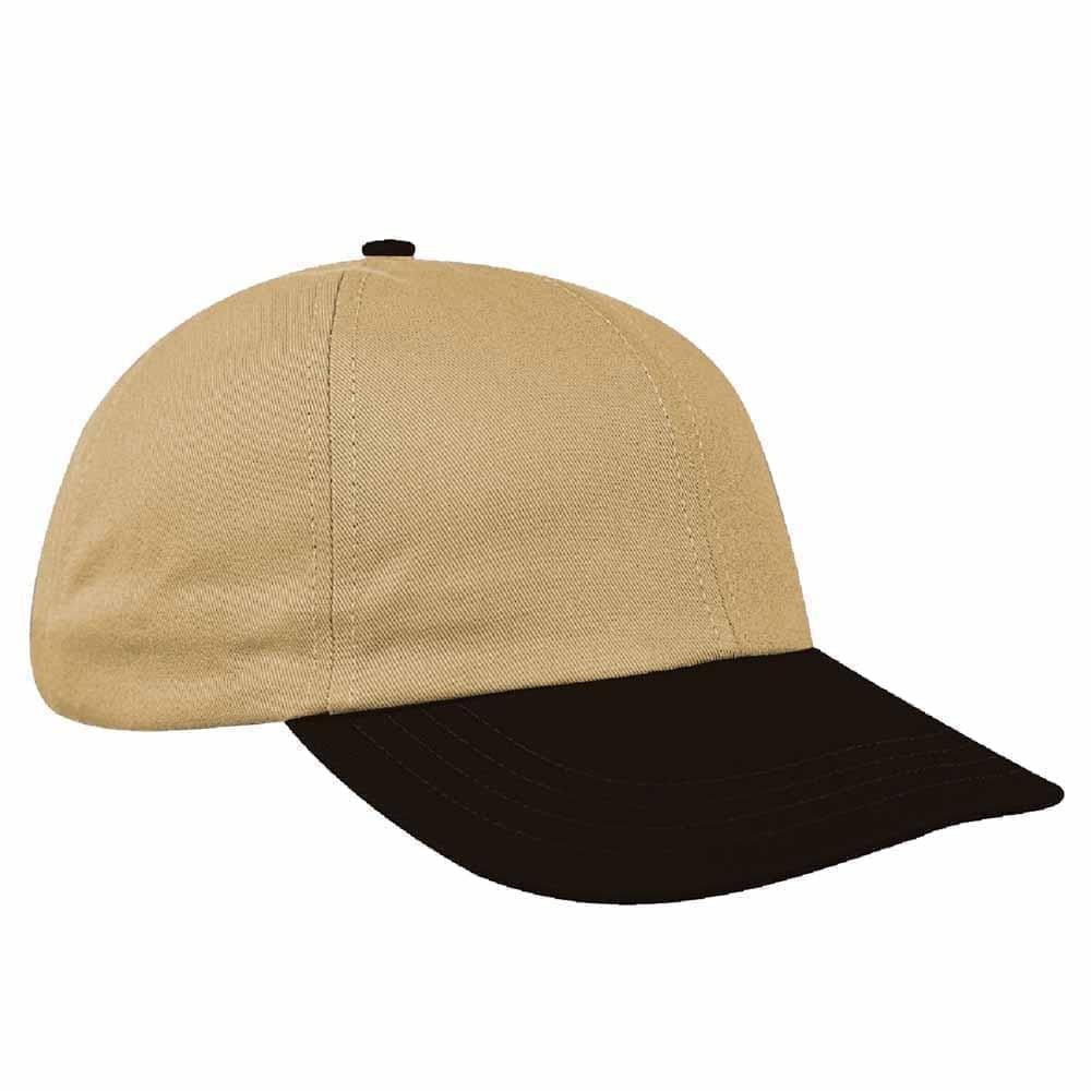 Khaki-Black Canvas Leather Dad Cap