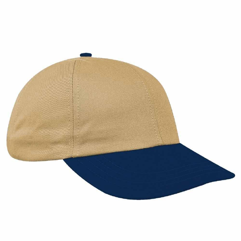 Khaki-Navy Canvas Slide Buckle Dad Cap