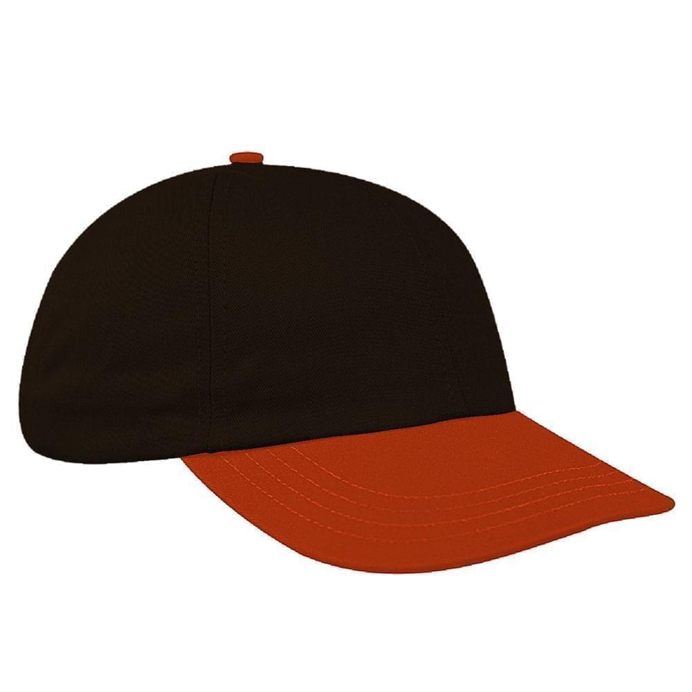 Black-Orange Canvas Leather Dad Cap