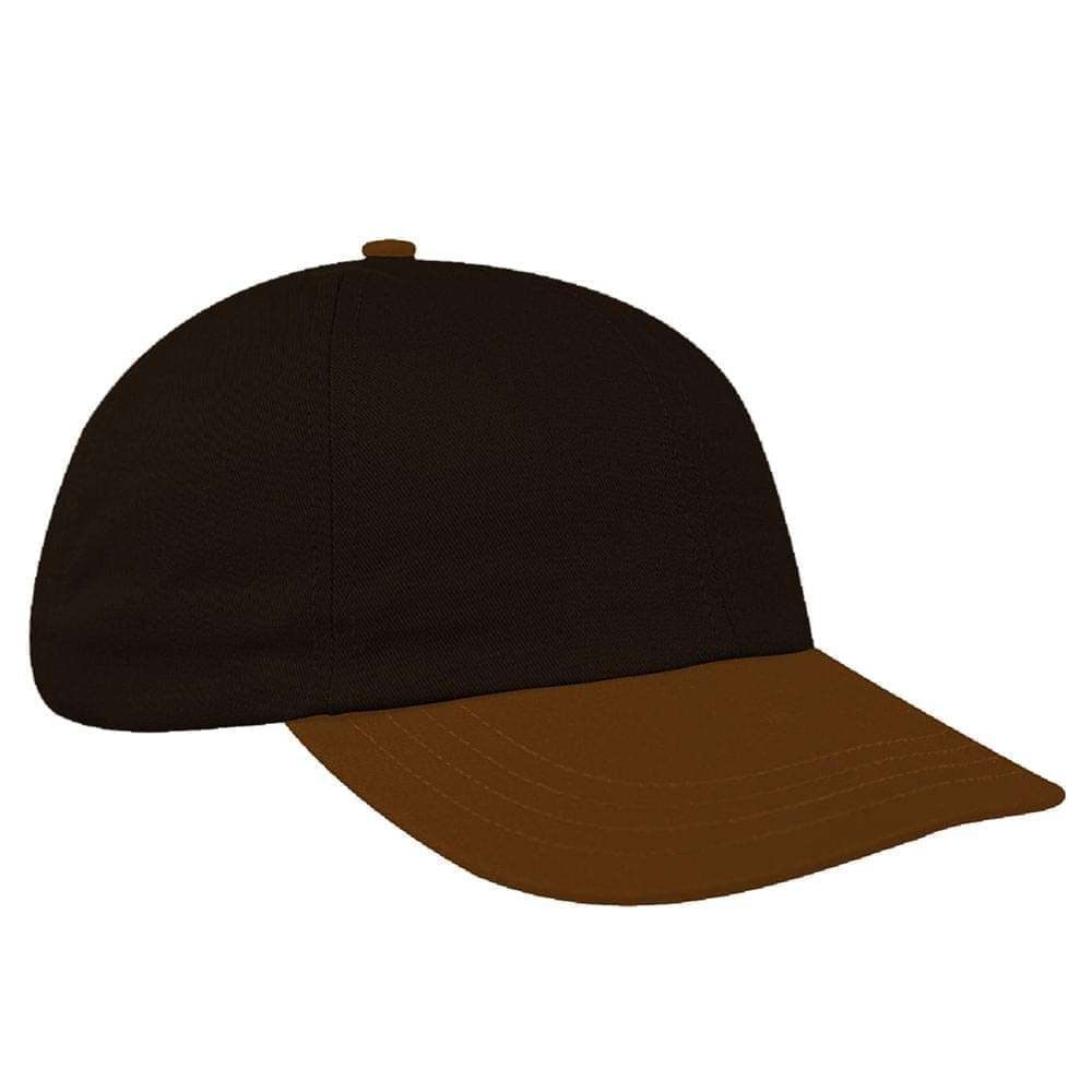 Black-Light Brown Canvas Leather Dad Cap