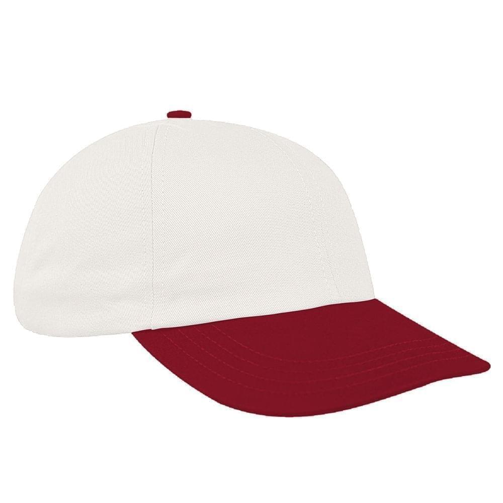 White-Red Canvas Self Strap Dad Cap