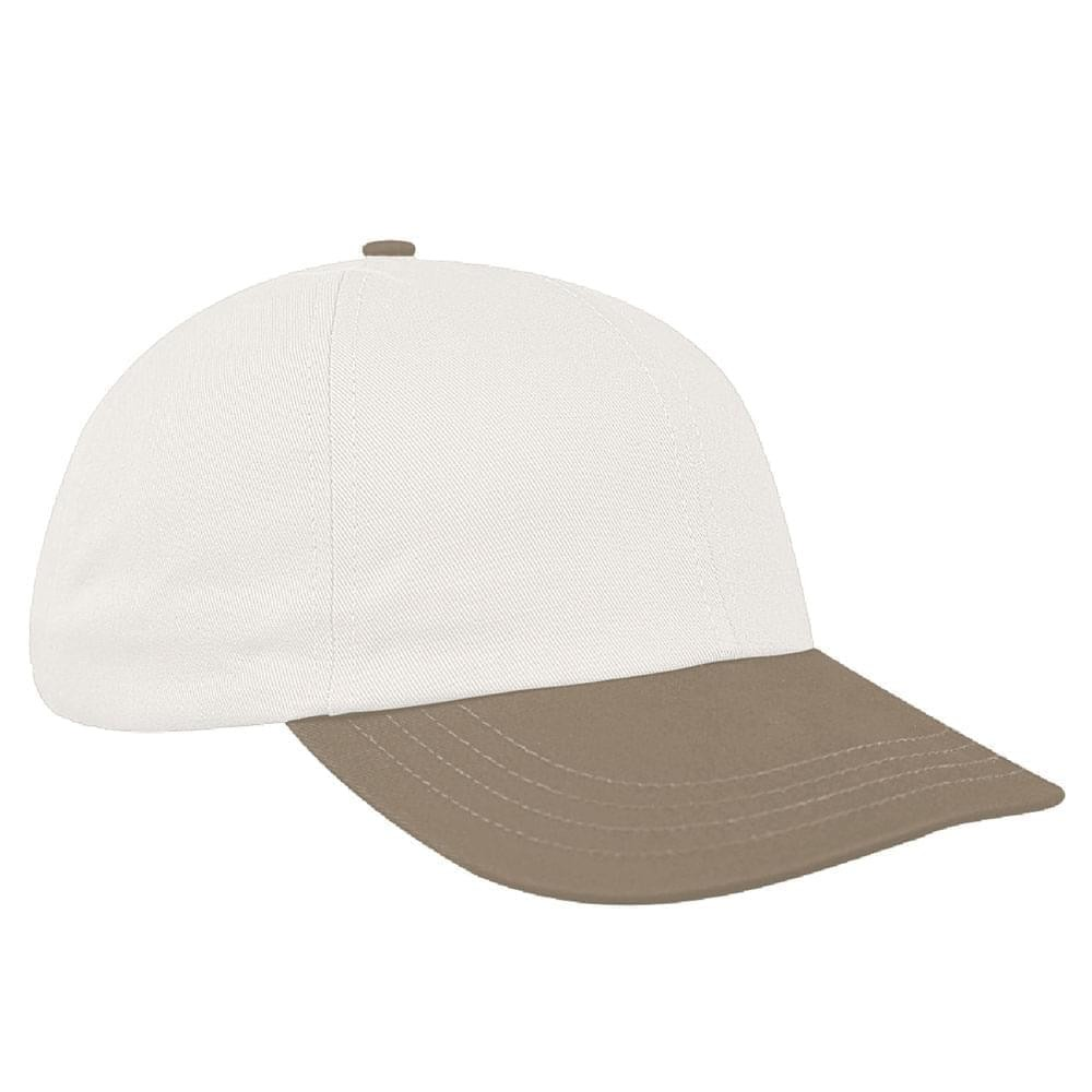 White-Khaki Canvas Self Strap Dad Cap