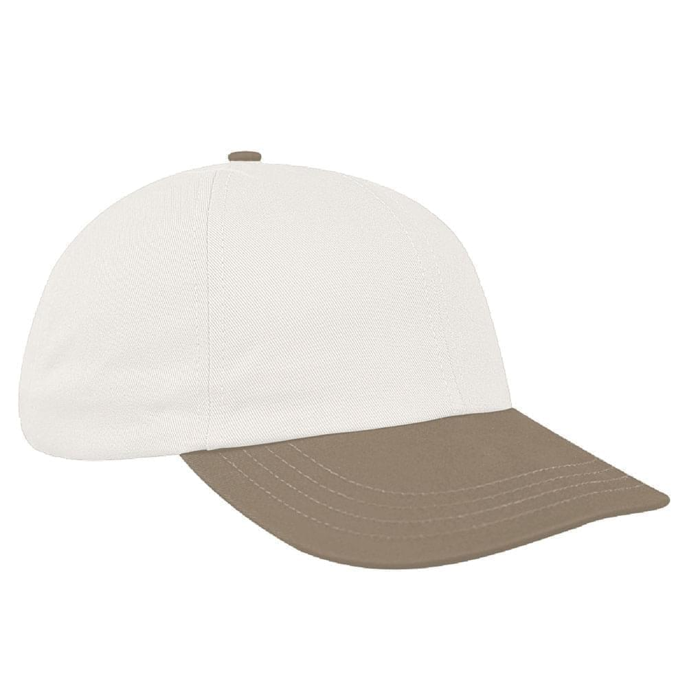 White-Khaki Canvas Snapback Dad Cap