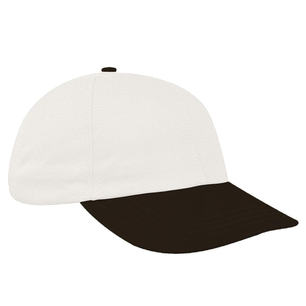White-Black Canvas Leather Dad Cap