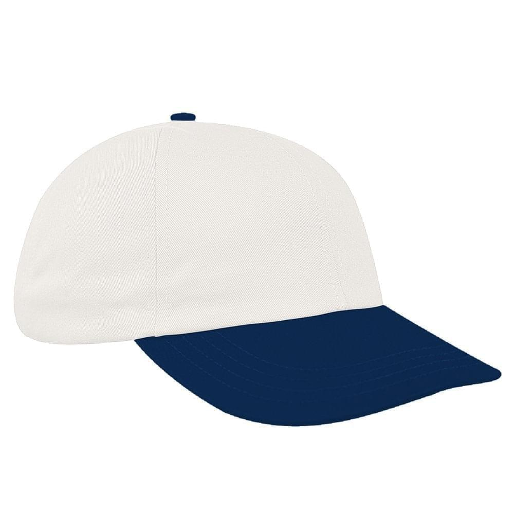 White-Navy Canvas Leather Dad Cap
