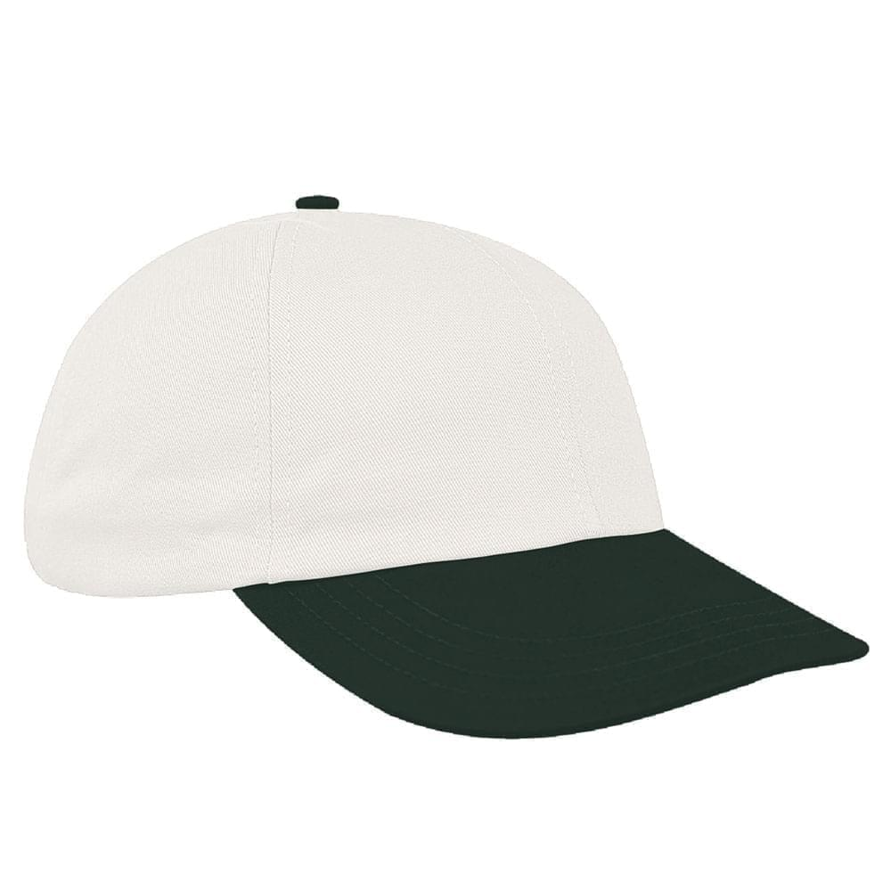 White-Hunter Green Canvas Leather Dad Cap