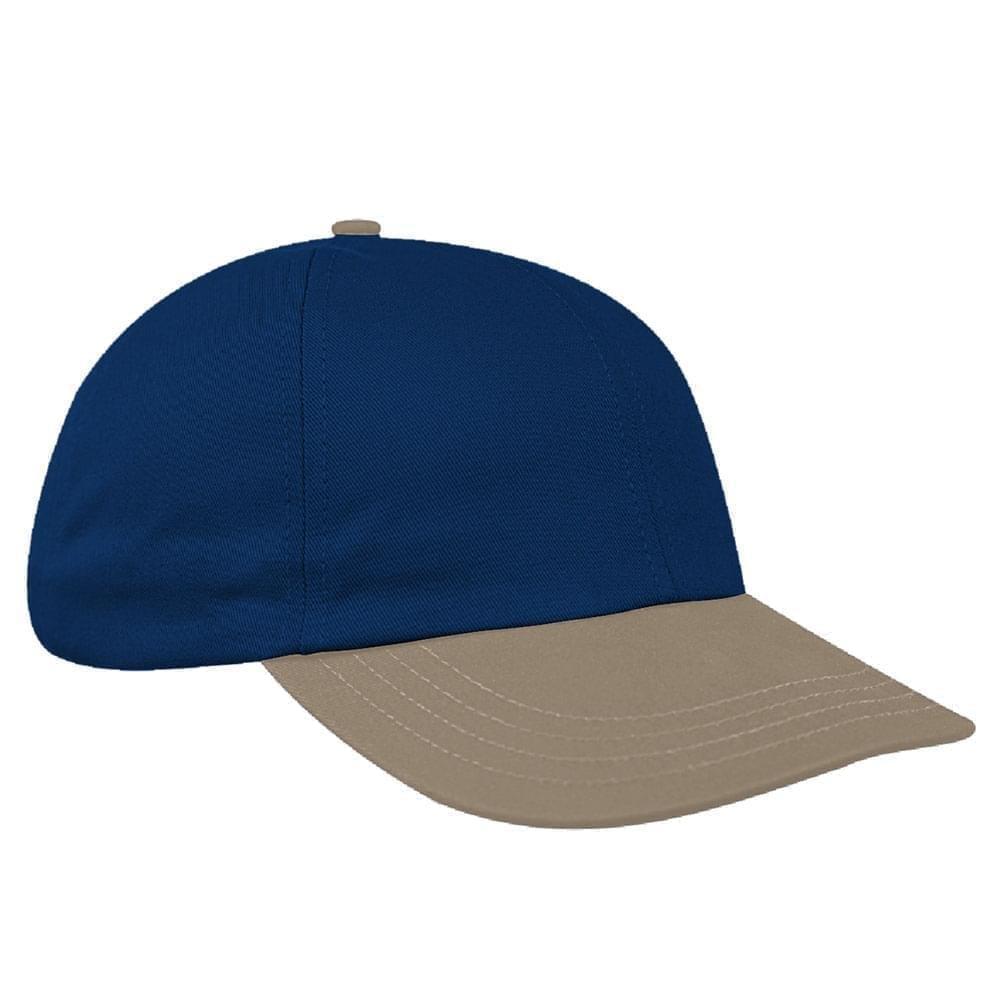 Navy-Khaki Canvas Leather Dad Cap