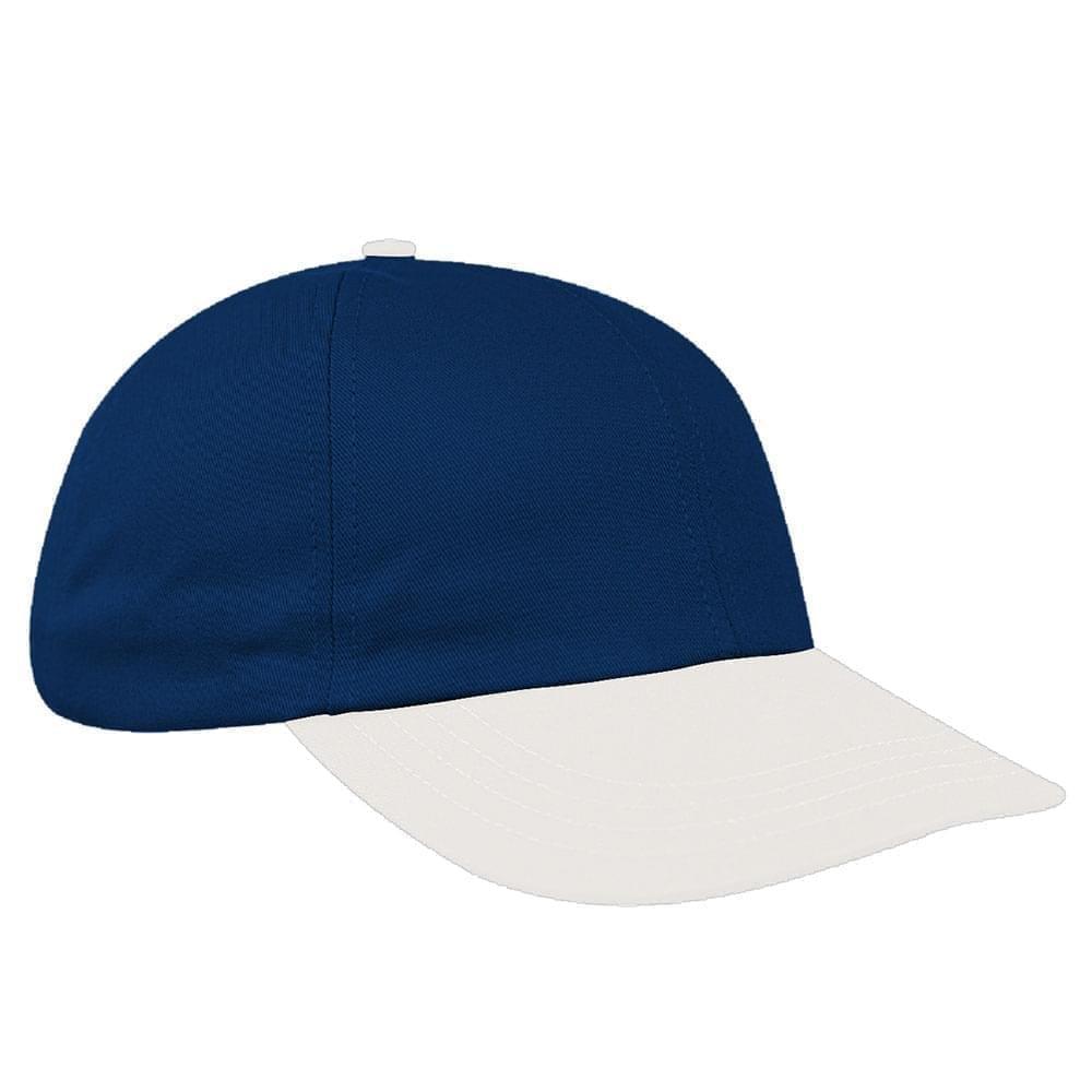 Navy-White Canvas Snapback Dad Cap
