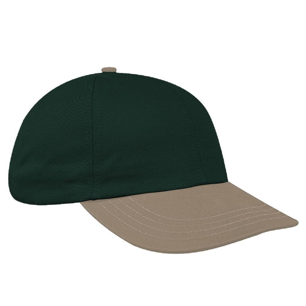 Hunter Green-Khaki Denim Velcro Dad Cap