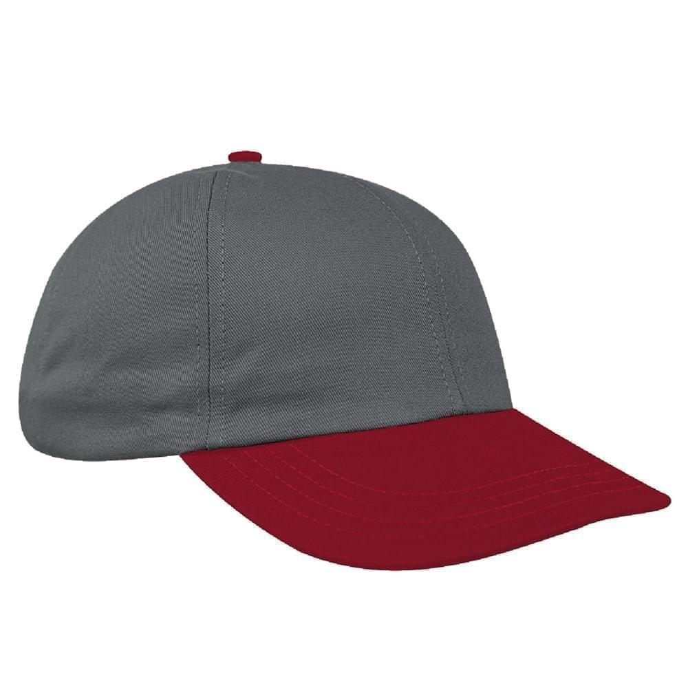 Light Gray-Red Denim Velcro Dad Cap