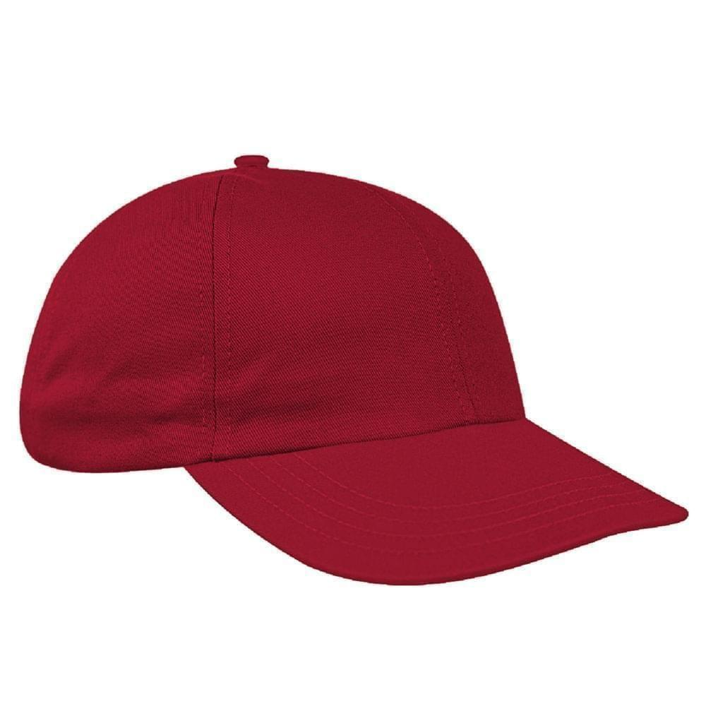 Red Canvas Leather Dad Cap