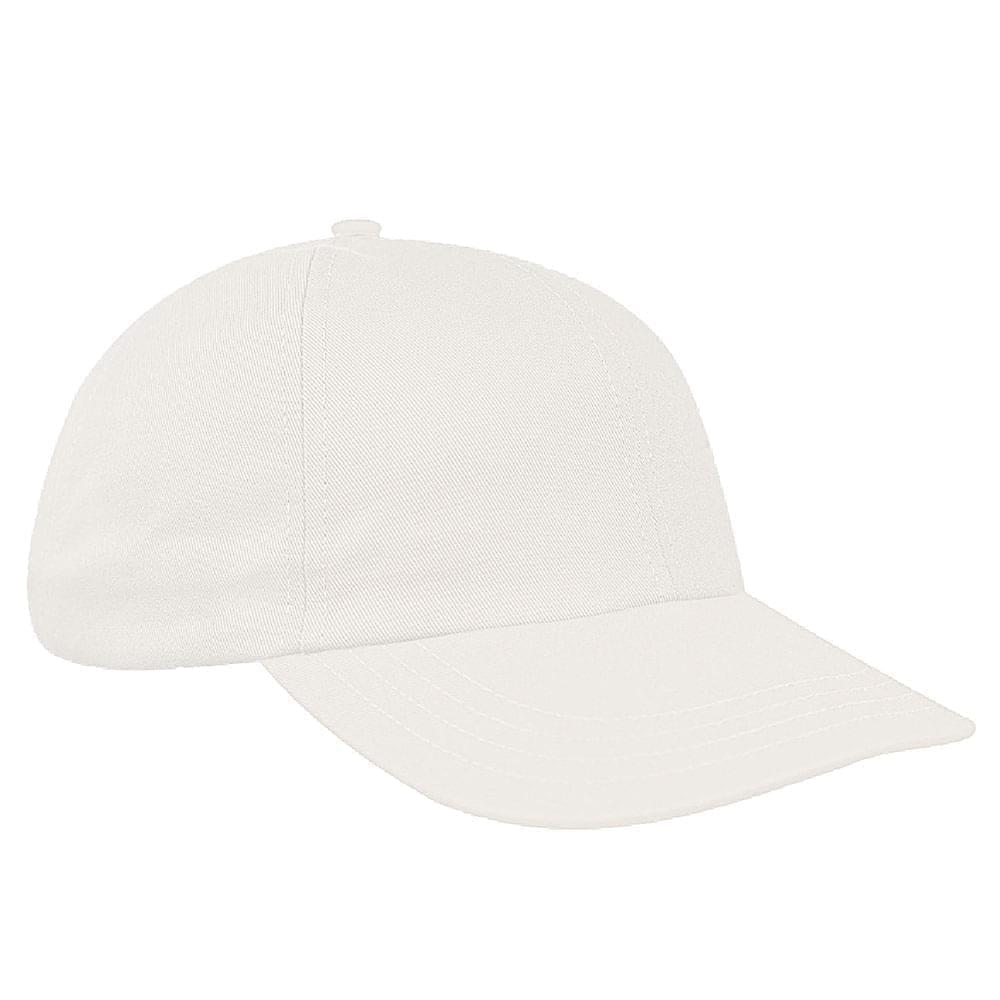 White Canvas Leather Dad Cap