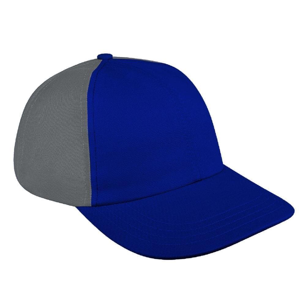 Royal Blue-Light Gray Denim Velcro Dad Cap