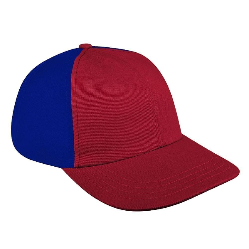 Red-Royal Blue Canvas Leather Dad Cap