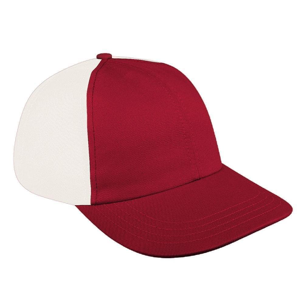 Red-White Denim Velcro Dad Cap