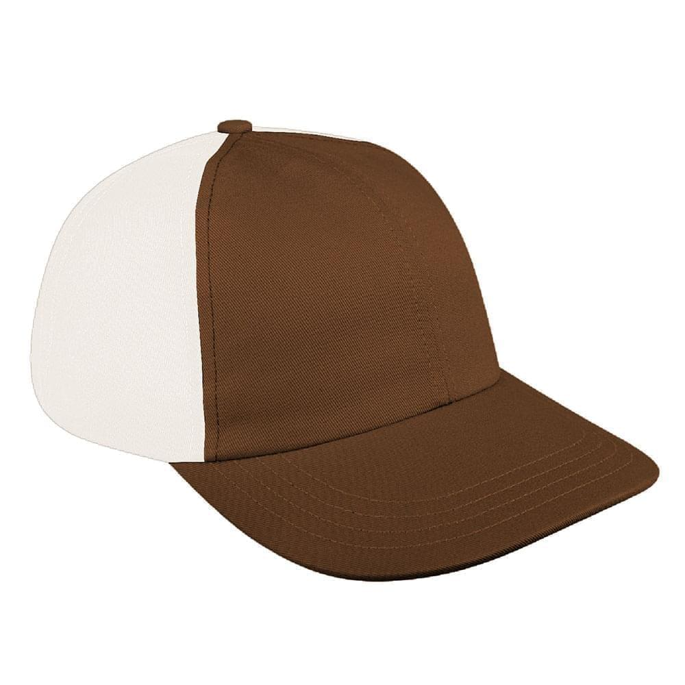 Brown-White Denim Velcro Dad Cap