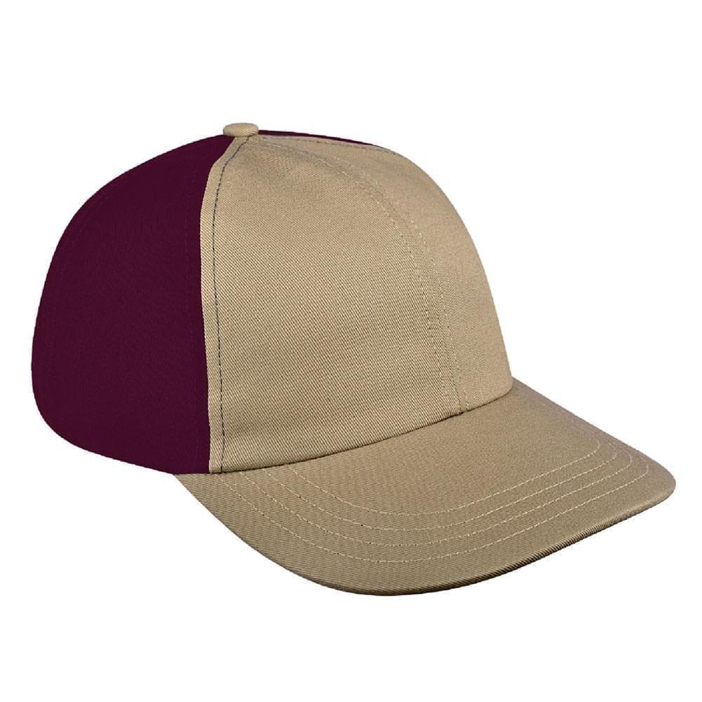 Khaki-Burgundy Canvas Snapback Dad Cap