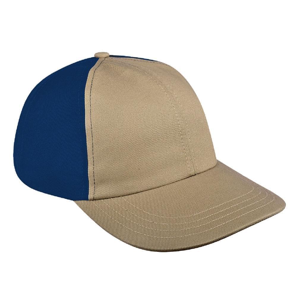 Khaki-Navy Denim Velcro Dad Cap