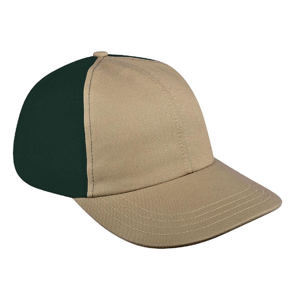 Khaki-Hunter Green Canvas Leather Dad Cap