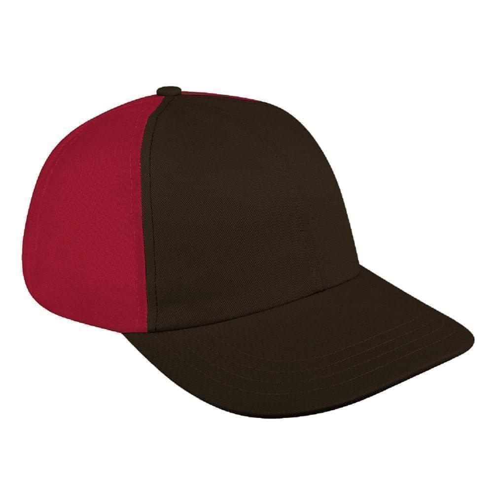 Black-Red Canvas Self Strap Dad Cap