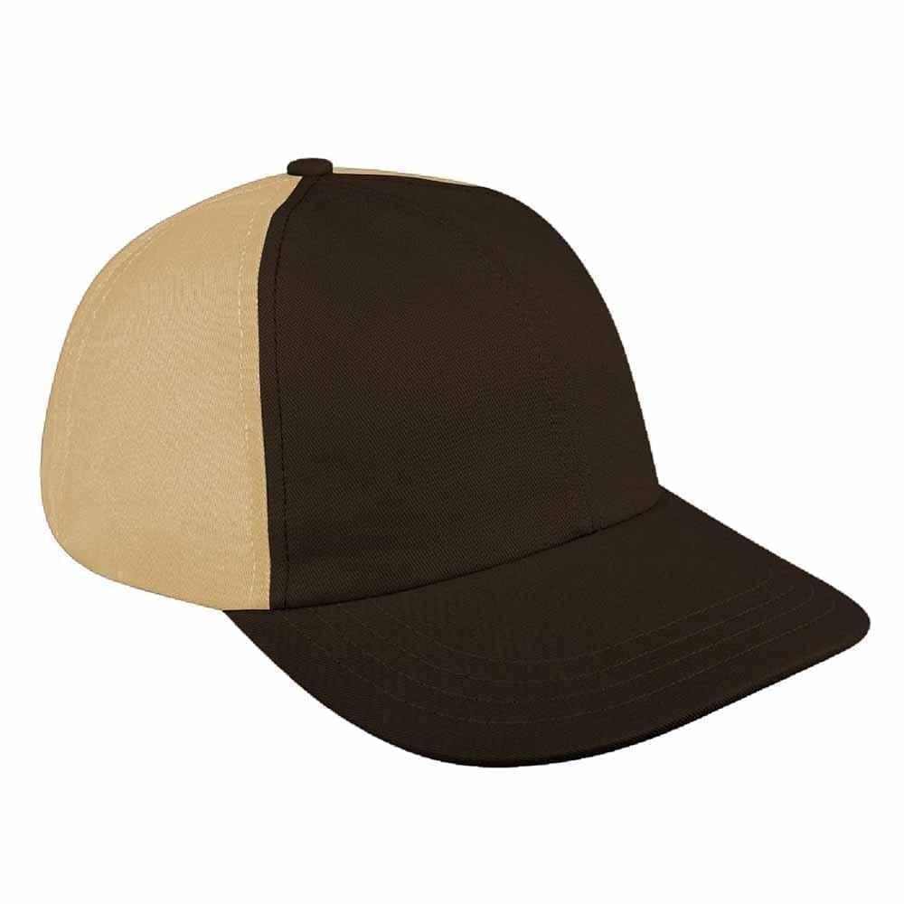 Black-Khaki Canvas Snapback Dad Cap