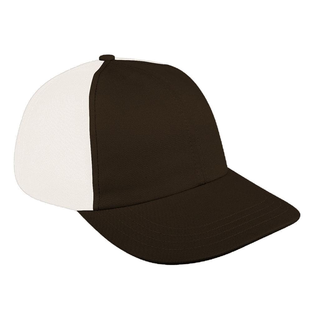 Black-White Canvas Leather Dad Cap