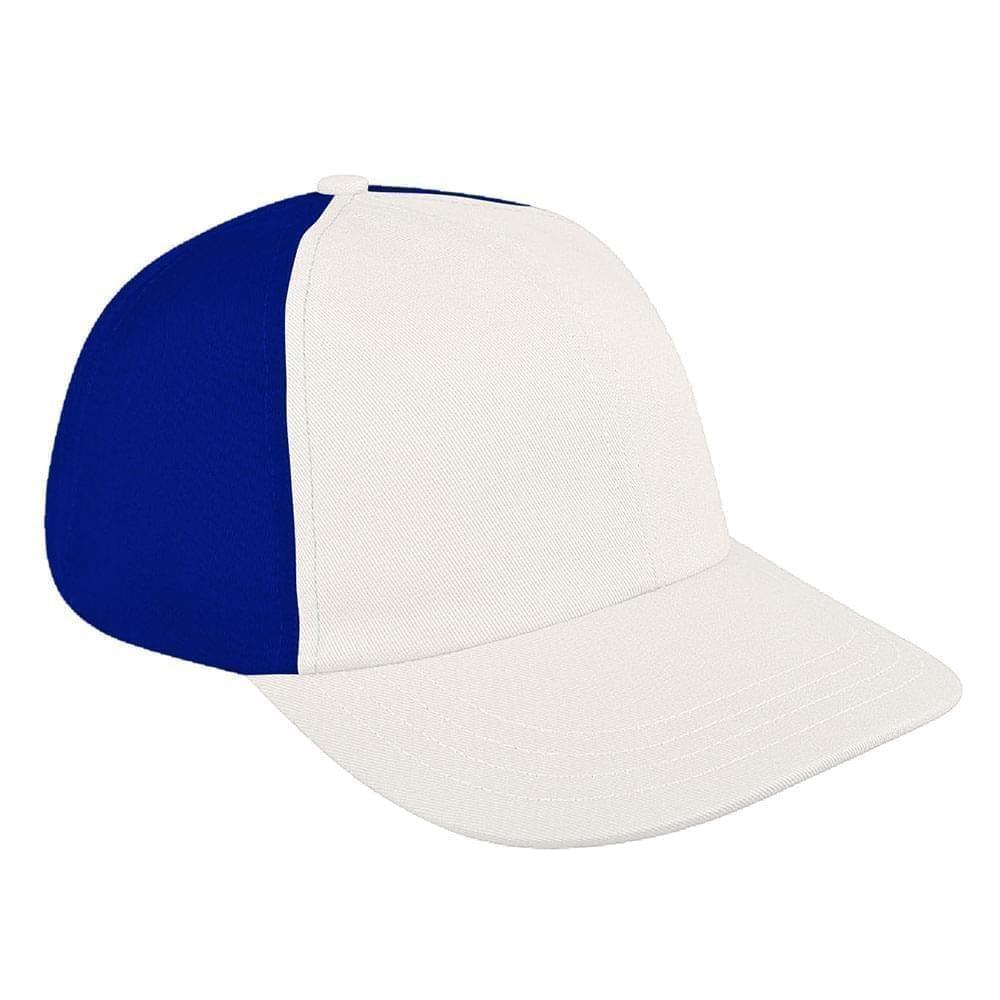 White-Royal Blue Canvas Leather Dad Cap