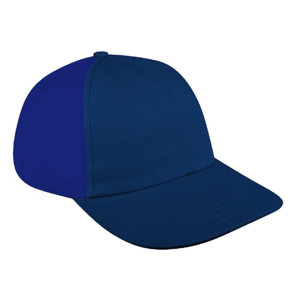 Navy-Royal Blue Canvas Snapback Dad Cap
