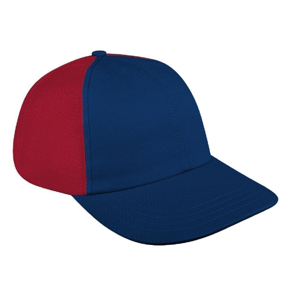 Navy-Red Canvas Self Strap Dad Cap