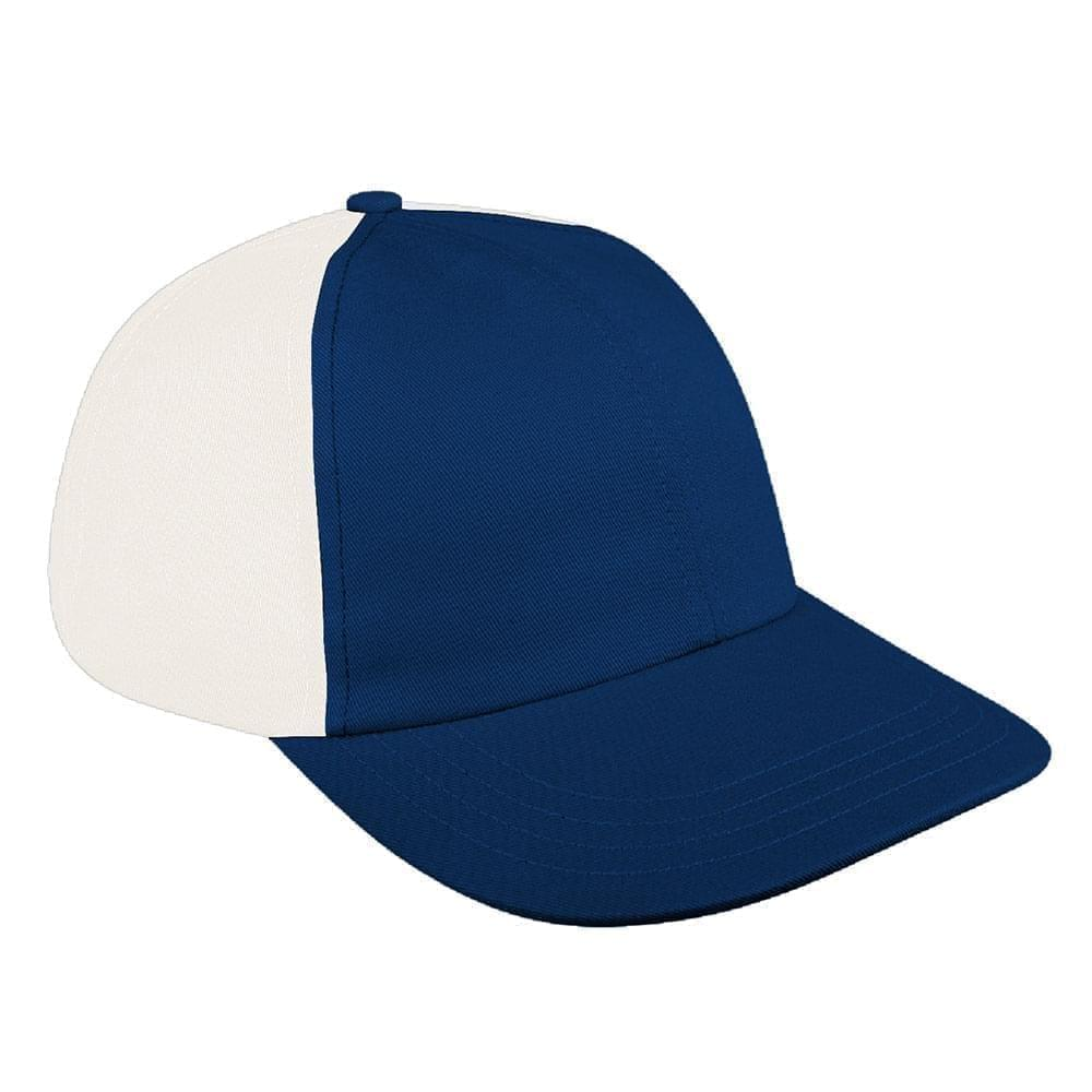 Navy-White Canvas Leather Dad Cap