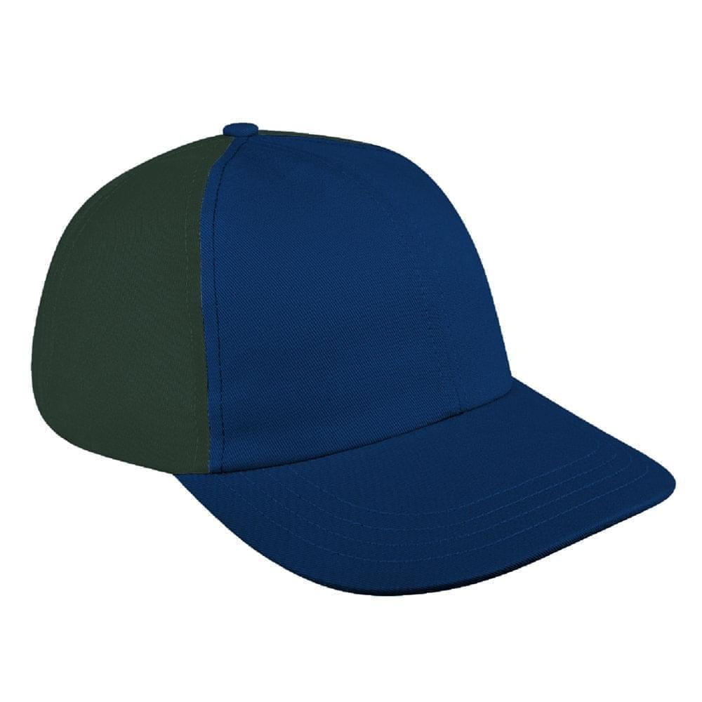 Navy-Hunter Green Canvas Leather Dad Cap