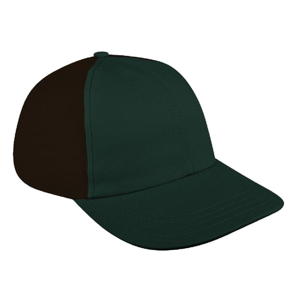 Hunter Green-Black Canvas Self Strap Dad Cap