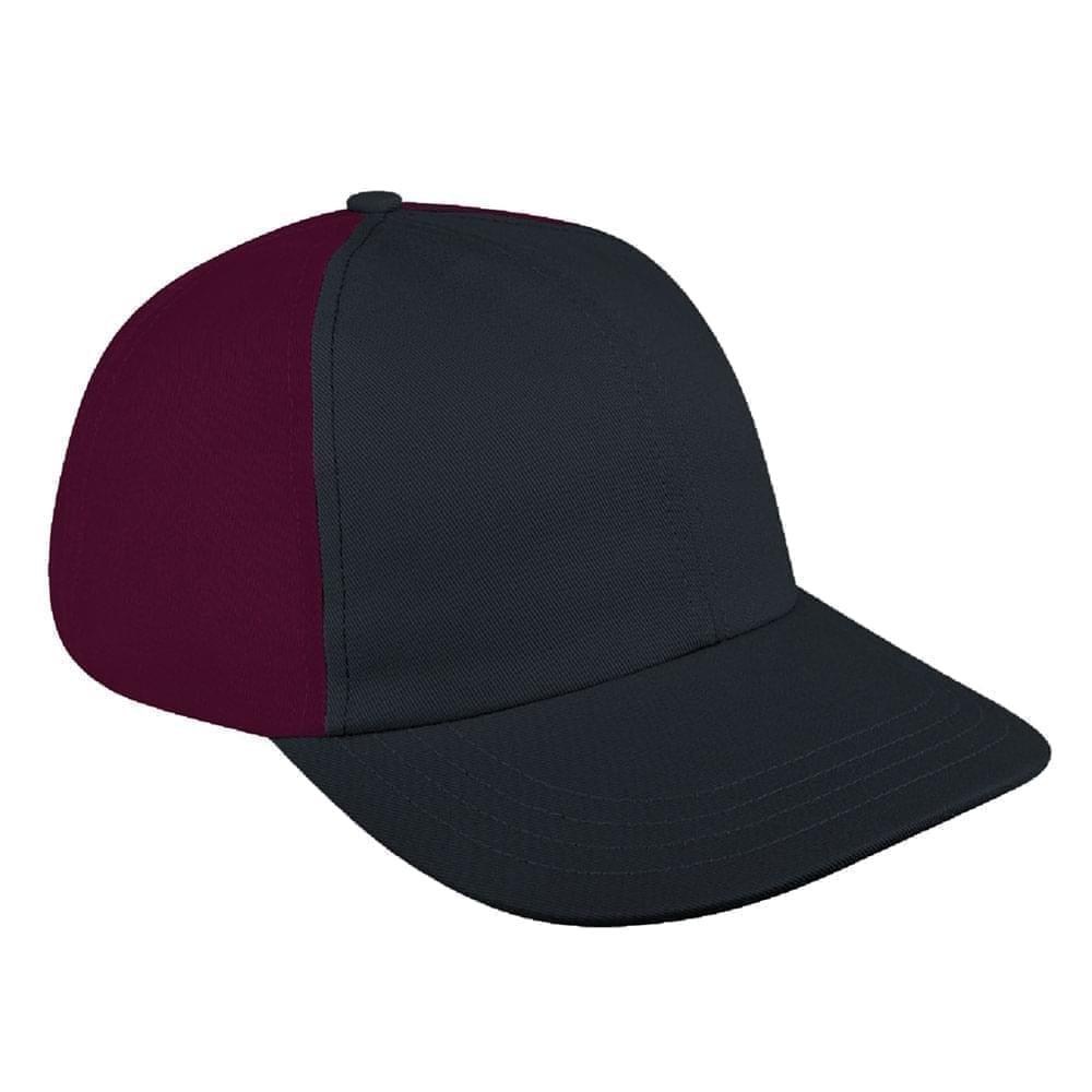 Dark Gray-Burgundy Denim Velcro Dad Cap