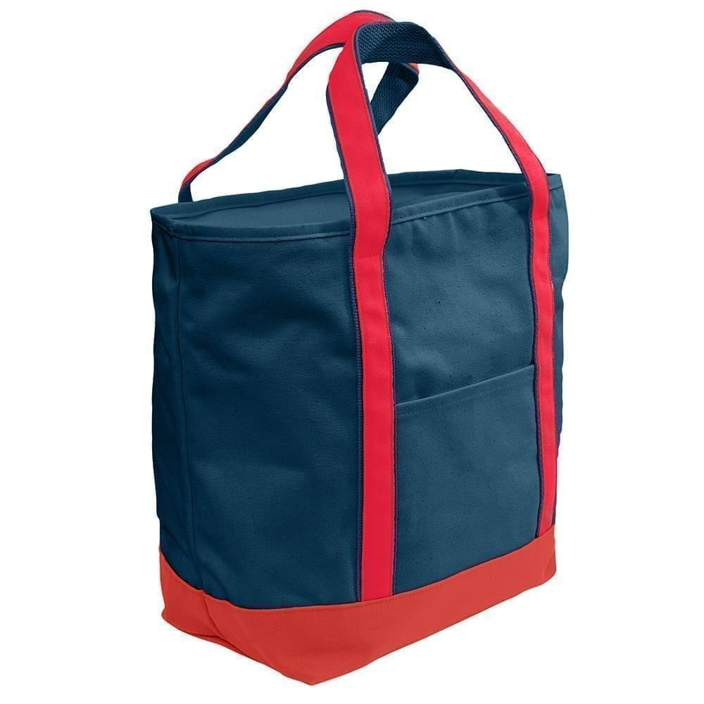 USA Made Heavy Canvas XL Beach Totes, Navy-Red, 7001216-AM2